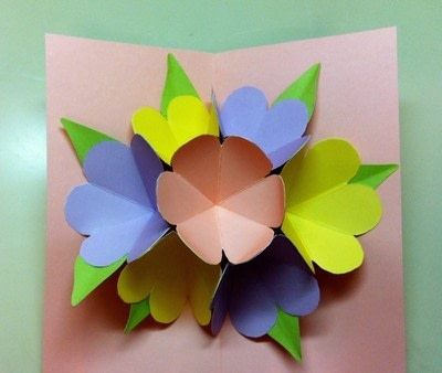 An example of the Interior of the finished pop-up Mother's Day card.